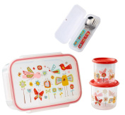 Sugarbooger Divided Lunch Box, (2) Small Storage Containers, and Silverware-Birds and Butterflies