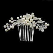 Sunshinesmile Rhinestone Wedding Bridal Hair Comb Pearl Flower Hair Jewellery Crystal Headpiece
