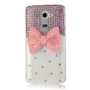 Evtech(tm) Pink Bowknot Bead Ruby Diamond Rhinestone Crystal Glitter Fashion Style Clear Lucency Transparency Back Cover Cell Phone Case Present Gift Lover for Lg G3 D855 D850 D851