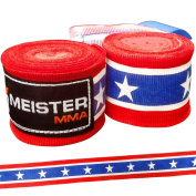 Meister Adult 460cm Semi-Elastic Hand Wraps for MMA & Boxing (Pair) - All Colours