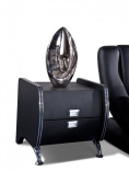 US Pride Furniture Dona Faux Leather Contemporary Nightstand, Black