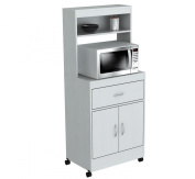 Inval America 2 Door Storage Cabinet with Microwave Cart, Laricina White