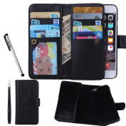 """Urvoix For Apple iPhone 6 / 6S (4.7""""), Wallet Leather Flip Card Holder Case, 2 in 1 Detachable Magnetic Back Cover iPhone6 / iPhone6S"""