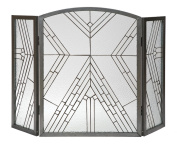 Panacea Products 15190 Wright Glass 3-Panel Fireplace Screen, Antique Iron