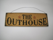 The Outhouse Country Bathroom Hand Stencilled Wooden Wall Art Sign Bath Decor