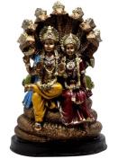 Indian Hand Carved Vishnu Laxmi Resin Idol Sculpture Statue 22cm