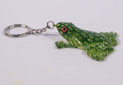 Hand Painted Green Frog Key Chain