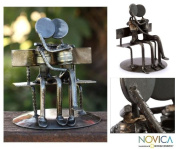 Iron statuette, 'Park Bench Sweethearts' - Romantic Recycled Metal Sculpture