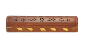 Handmade Wooden Coffin Incense Stick / Cone Burner Holder with Storage Compartment & Elephant Brass Inlay, 30cm x 5.1cm