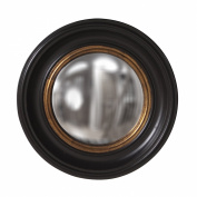 Howard Elliott 56010 Albert Round Convex Mirror, 50cm , Black Lacquer/Gold Leaf Inset