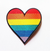 Rainbow Heart Embroidered Iron On Patch Rainbow Heart Embroidered Iron On Patch