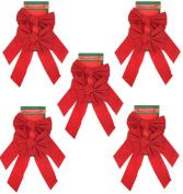 Red Velvet Christmas Bow 23cm X 41cm , 10 Pack of Holiday Bows