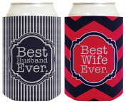 Couple's Gift Beer Coolie Best Husband Ever & Best Wife Ever Newlyweds Anniversary Gift 2 Pack Can Coolie Drink Coolers Coolies Premium Full Colour