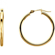 Medium 14k Yellow Gold Tube Hoop Earrings with Click-down Clasp (2mm Tube), 25mm