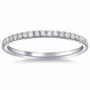 18k Gold or Platinum Thin Stackable Pave Diamond Band