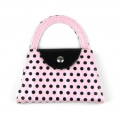 RayLineDo Fashion Design Pink Polka Dots Purse Manicure Set of 4-Nail File,Scissors,Clippers,Tweezers