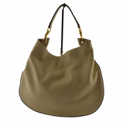 Woman Shoulder Leather Bag Light Taupe - Genuine Leather Bags Made In Italy - Woman Bag