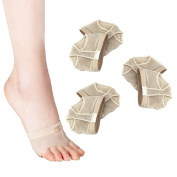 LEORX 3 Pair Ballet Dance Thong Metatarsal Pads Ball of Foot Forefoot Cushions Covers - Size M