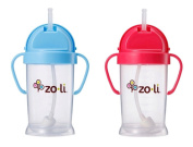 Zoli Baby Bot XL Straw Sippy Cup 270ml - 2 Pack, Blue/Pink