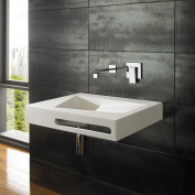 Clickbasin Dune 60cm x 50cm Pure White Solid Surface Wall Mounted Basin