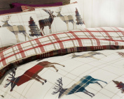 elinens Woodland Stag Duvet Cover Set Tartan Cheque Red Double 200cm x 200cm