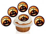 12 Large Pre Cut Black Pumpkin Halloween Edible Premium Disc Wafer Cupcake Decorations Toppers