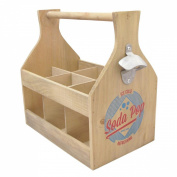 6 Bottle Holder with Opener Wooden - Soda Pop Ice Cold Refreshing
