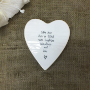 Heart Shaped Porcelain Coaster May your days be filled with laughter friendship and love