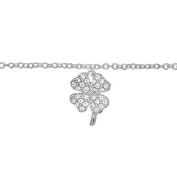 Helios Bijoux Chain Anklet Clover 925 Solid Silver 2 g New