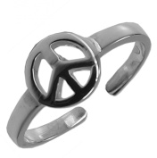 925 Sterling Silver PEACE SIGN TOE RING Adjustable Band 6.5mm