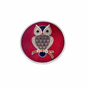 Sea Gems Nature Series Fine Enamel Owl on Branch Round Solid Brooch - 7526 BCH
