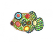 Brooch Balloon Porcelain Fish and Green Glass Beads-Costume Jewellery