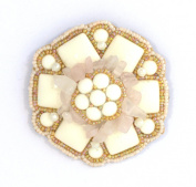 White Porcelain Flower Brooch, Crystal quartz and Glass Beads-Costume Jewellery