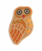 Owl Broach orange Porcelain and Glass Beads-Costume Jewellery