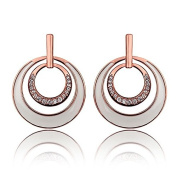 Genuine Rose Jewellery Women's 18K Real Rose Gold Plated White Multiple Circle Hanging Earrings With. Elements