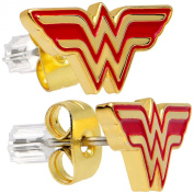 Officially Licenced Stainless Steel Gold IP Wonder Woman Stud Earrings