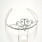T5469 Shiny Silver Crystal Tiara Brand New