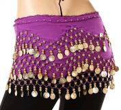 Bigood 3 Row Coins Belly Hip Skirt Scarf Dancing Costume Waistband