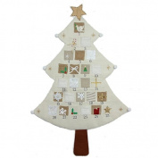 Gisela Graham : Cream Fabric Christmas Tree Advent Calendar