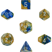 Polyhedral 7-Die Gemini Dice Set - Blue-Gold with White [Toy]