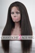 Chantiche. Silk Top Italian Yaki Human Hair Glueless Lace Front Wigs 130% Density 5A Brazilian Remy Hair Wig For Black Women Medium Size Cap 36cm #1B