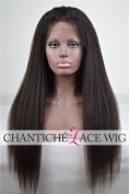 Chantiche® Silk Top Italian Yaki Human Hair Glueless Lace Front Wigs 130% Density 5A Brazilian Remy Hair Wig For Black Women Natural Colour Medium Size Cap Medium Brown Lace 46cm