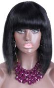 Short Cut Lace Front Bob Wigs with Full Bangs Human Hair Glueless Brazilian Virgin Hair 130 Density Colour #1
