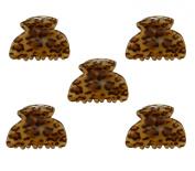 5 Pcs . Leopard Print Mini Size Plastic Claw Jaw Hair Clip HCA766