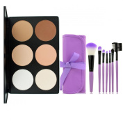 LEFV™ 6 Colour Concealer Camouflage Makeup Palette with 7pcs Professional Cosmetic Face Eye Eyeshadow Lip Brush Set Kit and a Purple Bag Case