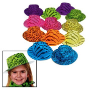 Fun Express Neon Animal Print Gangster Hats