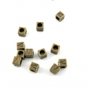 60pcs Jewellery Making Charms Findings Antique Bronze Tone for Necklace Bracelet Earrings G7RS6 Alphabet V Cube Beads