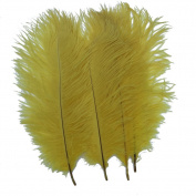 Generic Yellow 10-12inch 25-30cm Ostrich Feather Home Decoration DIY Craft Pack of 10