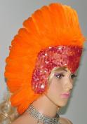 Hot-fans Sequins Las Vegas Dancer Showgirl Headpiece, Orange