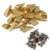Golden Metal Dragon Claw Studs and Spikes Screwback Leathercraft Shark Fin Pack of 20